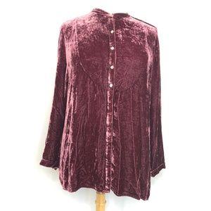 J. Jill Purple Velour Long Sleeve Blouse XL